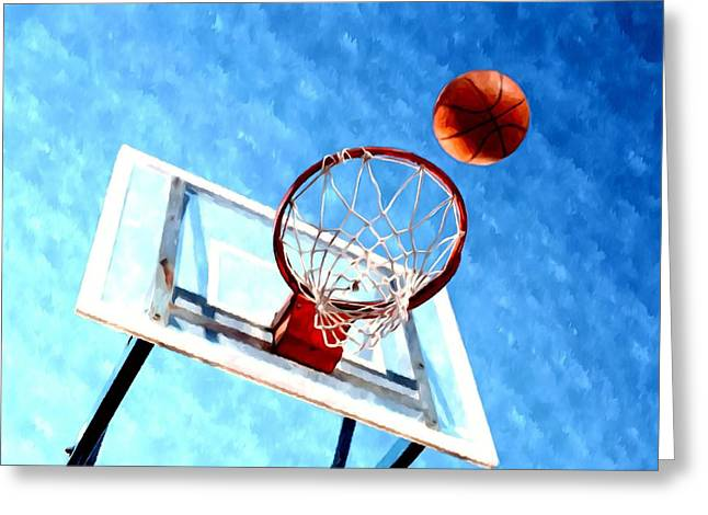 Basket Ball Game Paintings Greeting Cards - Basketball hoop and ball 1 Greeting Card by Lanjee Chee