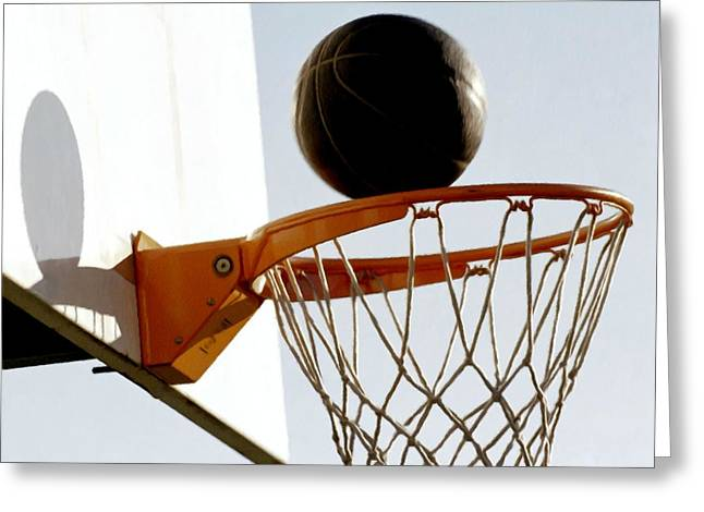 Basketball hoop and ball Greeting Card by Lanjee Chee