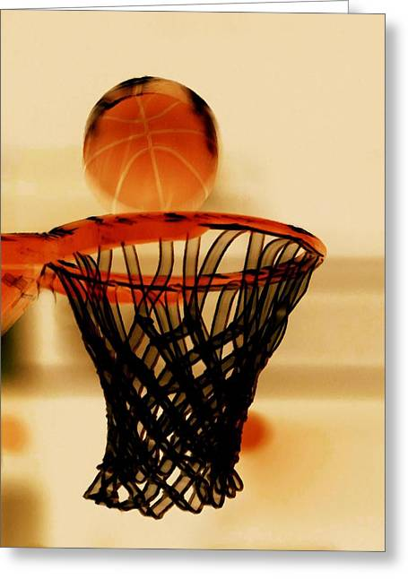 Basket Ball Game Paintings Greeting Cards - Basketball hoop and basketball ball 1 Greeting Card by Lanjee Chee