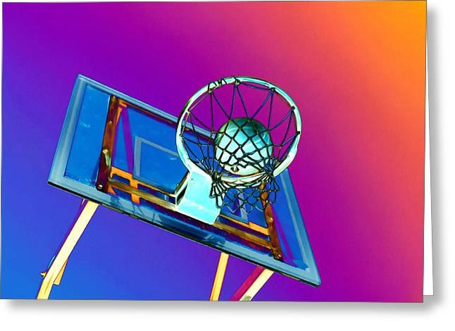Basket Ball Game Paintings Greeting Cards - Basketball hoop and basketball ball Greeting Card by Lanjee Chee