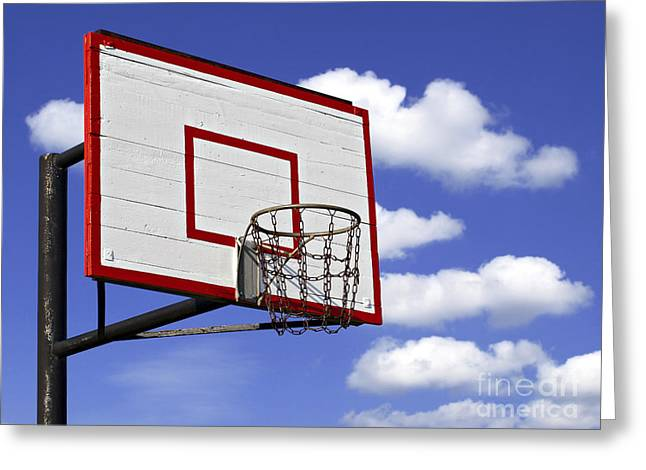 Basket Ball Game Greeting Cards - Basketball hoop Greeting Card by G J