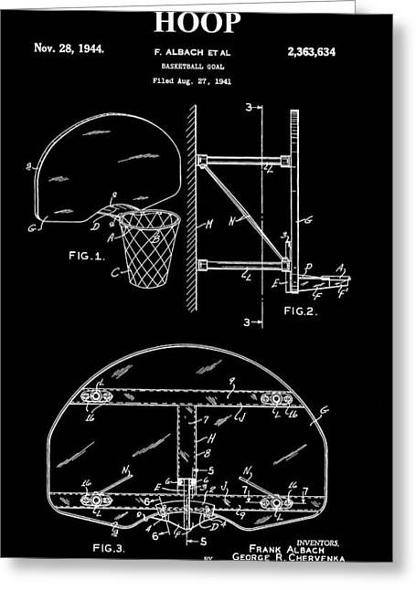 Basketball Digital Art Greeting Cards - Basketball Hoop Patent Greeting Card by Dan Sproul