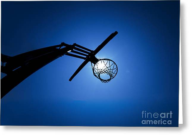 Basketballs Greeting Cards - Basketball Hoop Silhouette Greeting Card by Diane Diederich