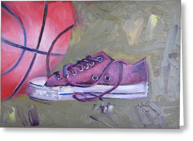 Conversing Paintings Greeting Cards - Basketball in Purple Chucks Greeting Card by Vicki Ross