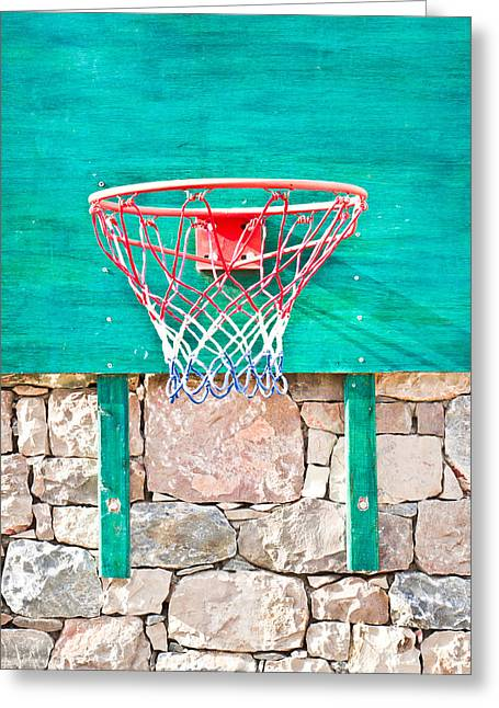Basketball Photographs Greeting Cards - Basketball net Greeting Card by Tom Gowanlock