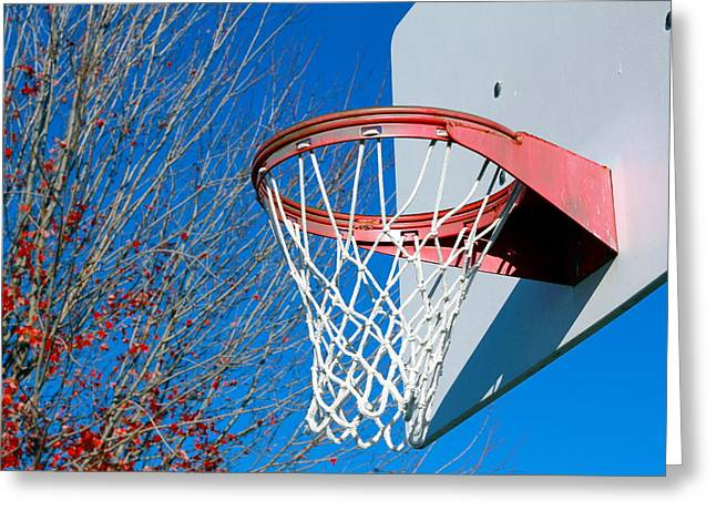 Basket Ball Game Greeting Cards - Basketball Net Greeting Card by Valentino Visentini