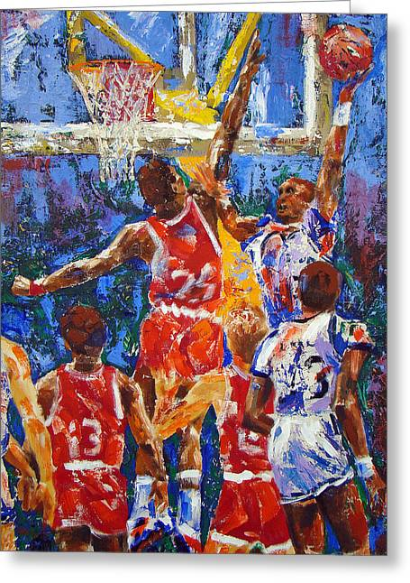 Slam Dunk Paintings Greeting Cards - BASKETBALL No 1 Greeting Card by Walter Fahmy