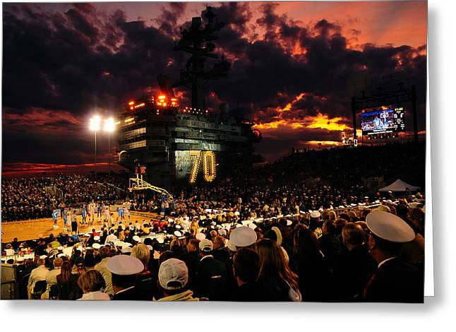 Uss North Carolina Greeting Cards - Basketball on a Carrier Greeting Card by Mountain Dreams