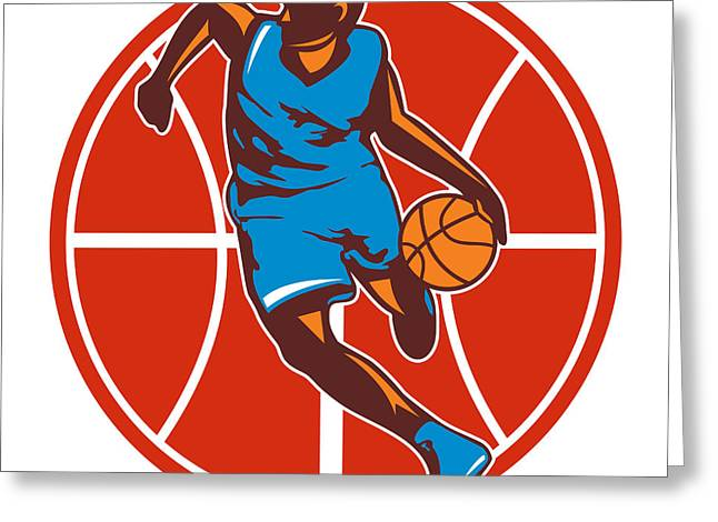 Basketball Artwork Greeting Cards - Basketball Player Dribble Ball Front Retro Greeting Card by Aloysius Patrimonio