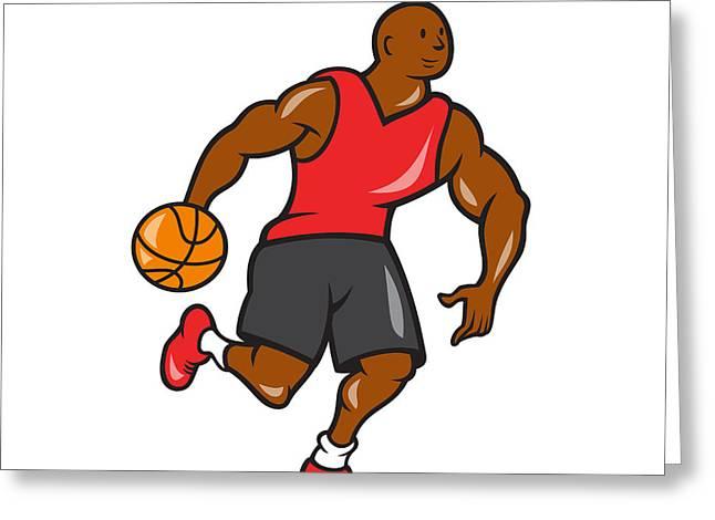 Dribbling Greeting Cards - Basketball Player Dribbling Ball Cartoon Greeting Card by Aloysius Patrimonio