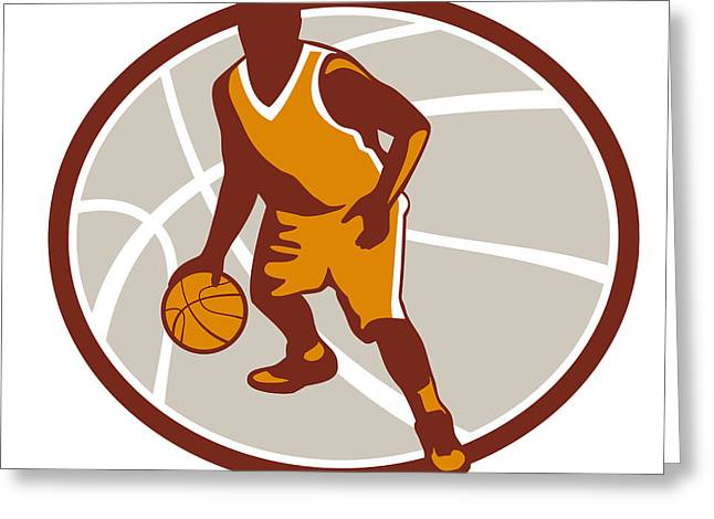 Basketball Artwork Greeting Cards - Basketball Player Dribbling Ball Oval Retro Greeting Card by Aloysius Patrimonio