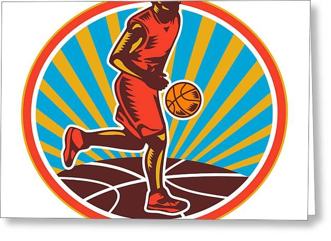 Dribbling Greeting Cards - Basketball Player Dribbling Ball Woodcut Retro Greeting Card by Aloysius Patrimonio