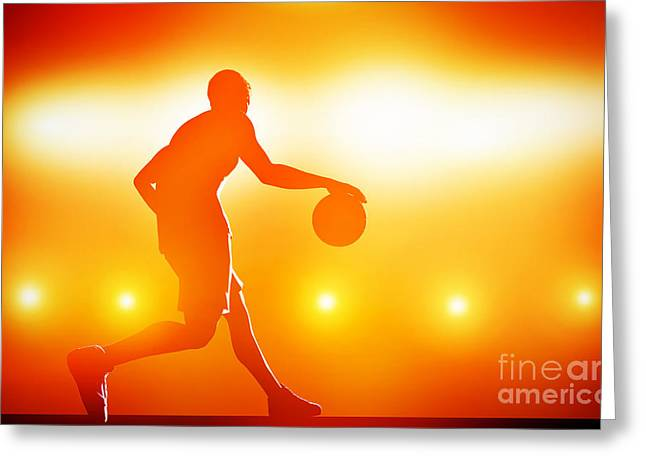 Basket Ball Game Greeting Cards - Basketball player dribbling with ball Greeting Card by Michal Bednarek