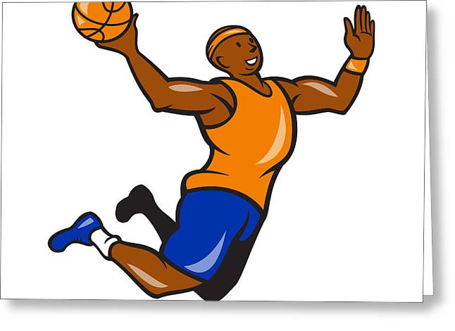 Lay Up Greeting Cards - Basketball Player Dunking Ball Cartoon Greeting Card by Aloysius Patrimonio