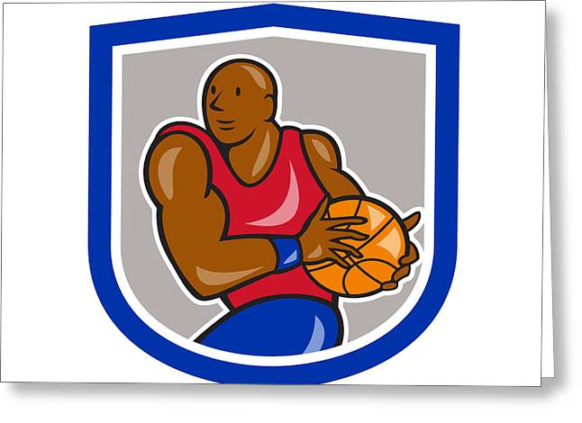 Lay Up Greeting Cards - Basketball Player Holding Ball Shield Cartoon Greeting Card by Aloysius Patrimonio