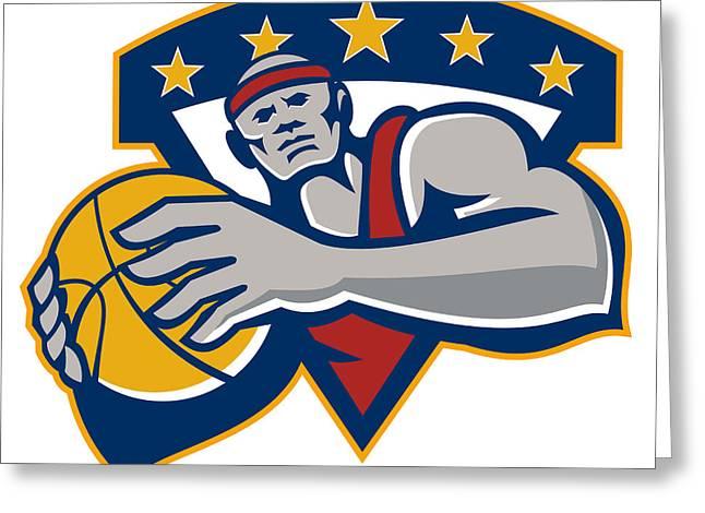Basketball Player Holding Ball Star Retro Greeting Card by Aloysius Patrimonio