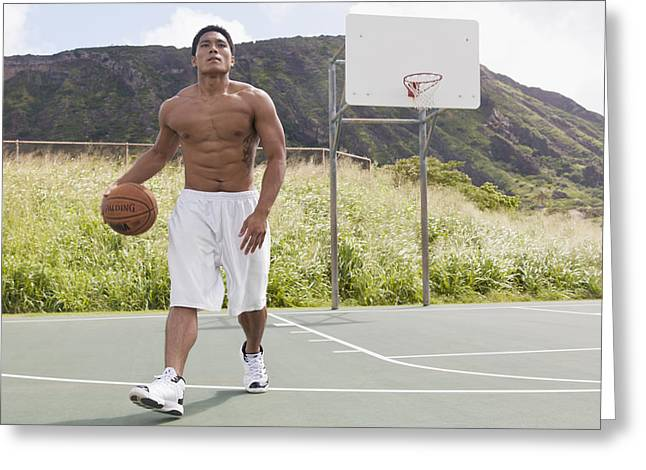 Basket Ball Greeting Cards - Basketball Player II Greeting Card by Brandon Tabiolo