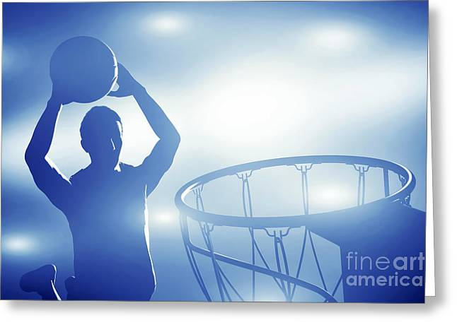Professional Basket Ball Player Greeting Cards - Basketball player jumping for slam dunk Greeting Card by Michal Bednarek