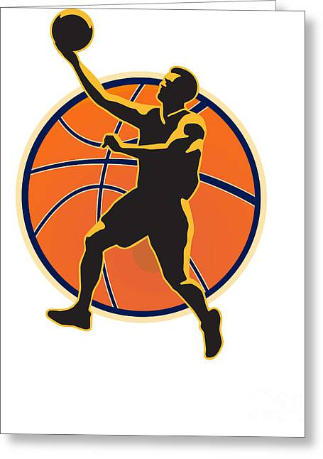 Lay Up Greeting Cards - Basketball Player Lay Up Ball Greeting Card by Aloysius Patrimonio