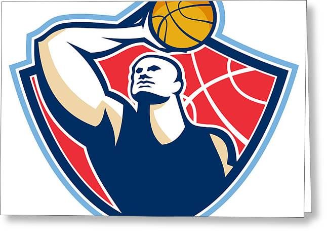 Basketball Player Rebounding Ball Retro Greeting Card by Aloysius Patrimonio