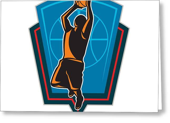 American Basketball Player Greeting Cards - Basketball Player Rebounding Ball Shield Retro Greeting Card by Aloysius Patrimonio