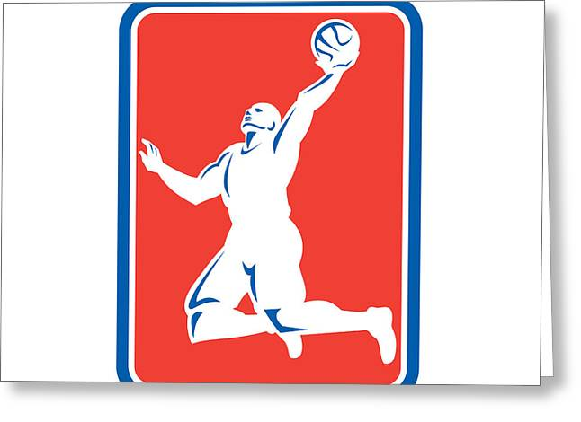 Lay Up Greeting Cards - Basketball Player Rebounding Lay-Up Ball Rectangle Greeting Card by Aloysius Patrimonio