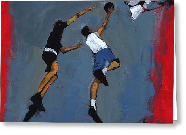 Dunk Greeting Cards - Basketball Players, 2009 Acrylic On Board Greeting Card by Paul Powis