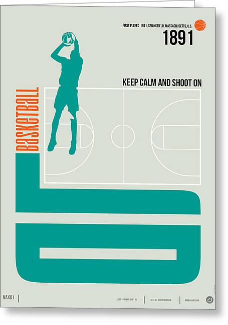Humor Greeting Cards - Basketball Poster Greeting Card by Naxart Studio