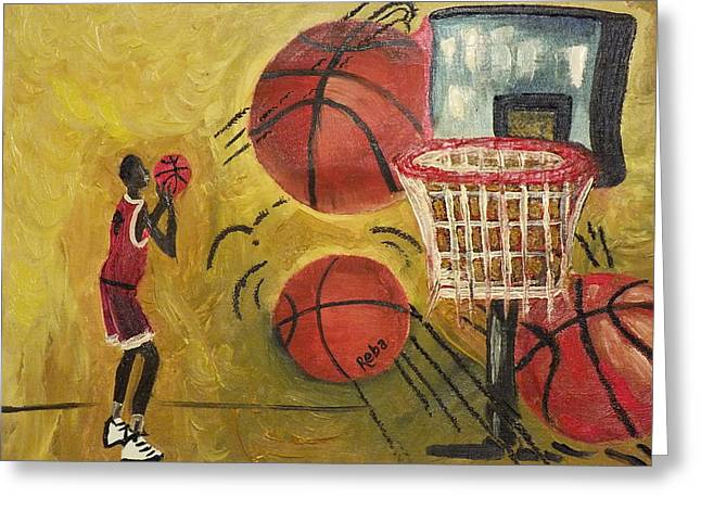 Shooting Hoops Greeting Cards - Basketball Greeting Card by Reba Baptist