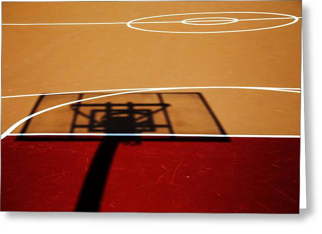 Basketball Abstract Greeting Cards - Basketball Shadows Greeting Card by Karol  Livote