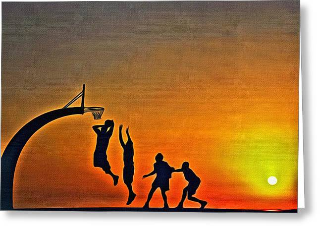 Basketball Posters Greeting Cards - Basketball Sunrise Greeting Card by Florian Rodarte