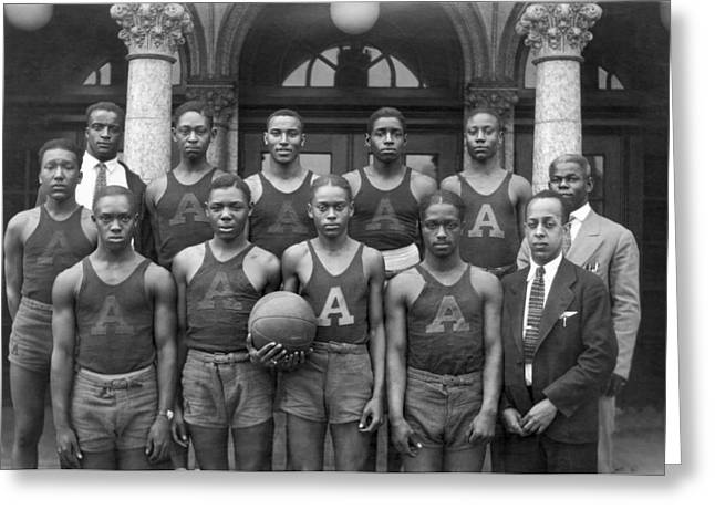 Basketball Team Greeting Cards - Basketball Team Portrait Greeting Card by Underwood Archives