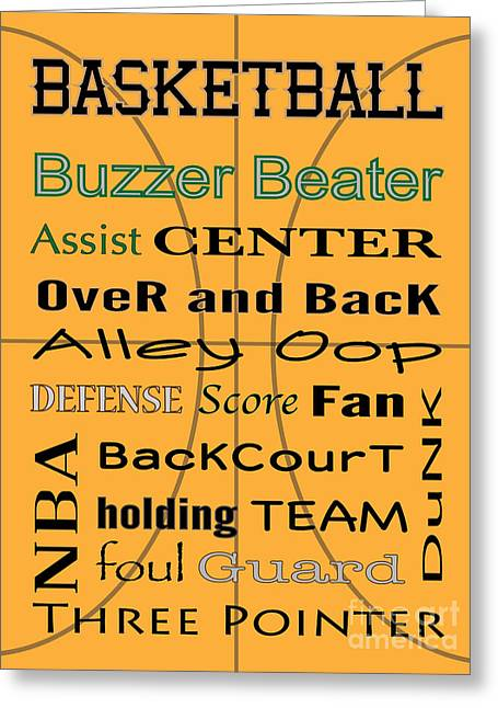 Dunk Greeting Cards - BASKETBALL typography Greeting Card by Terry Weaver