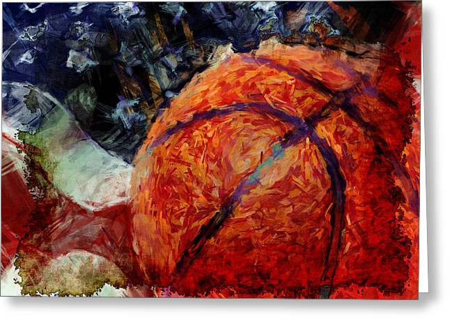 Basketball Abstract Greeting Cards - Basketball USA Greeting Card by David G Paul