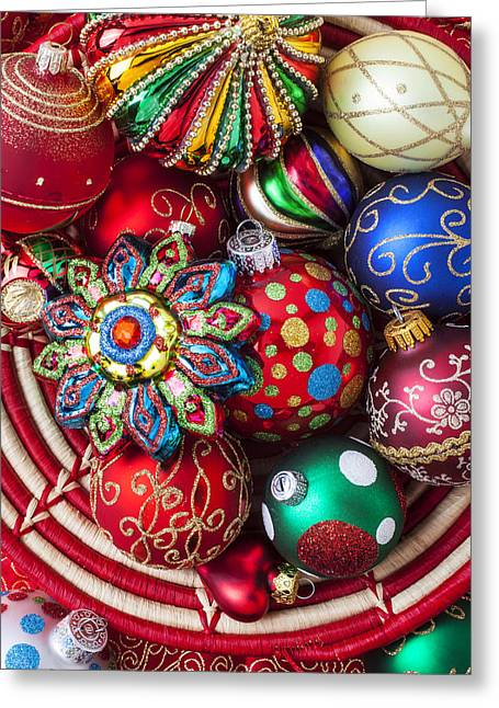 Basket Ball Photographs Greeting Cards - Basketful of Christmas ornaments Greeting Card by Garry Gay