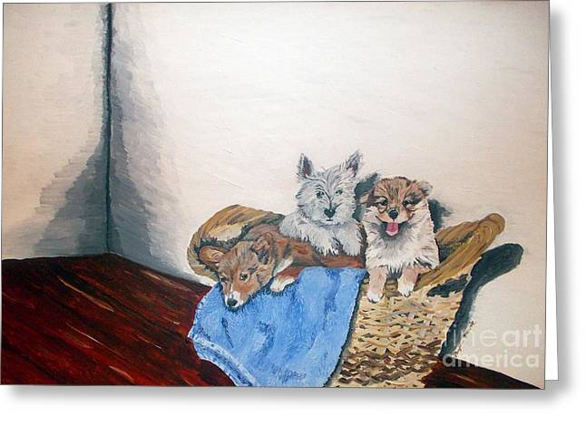 Puppies Paintings Greeting Cards - Basketful of puppies Greeting Card by Phyllis Muller