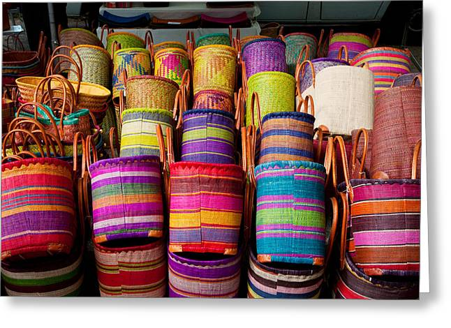 Retail Art Greeting Cards - Baskets For Sale In A Market Greeting Card by Panoramic Images