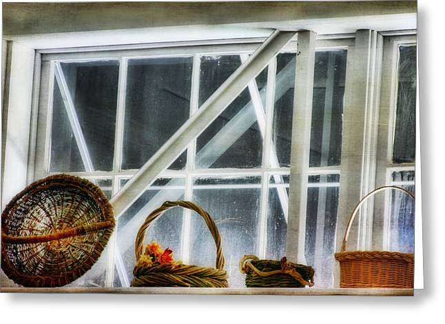 Joan Bertucci Greeting Cards - Baskets in the Window Greeting Card by Joan Bertucci