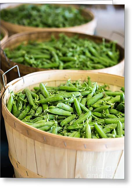 Farm Stand Greeting Cards - Baskets of fresh picked peas Greeting Card by Edward Fielding