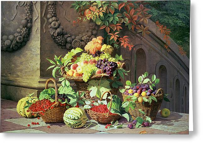 Grapevines Greeting Cards - Baskets of Summer Fruits Greeting Card by William Hammer