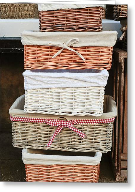 Fibre Greeting Cards - Baskets Greeting Card by Tom Gowanlock