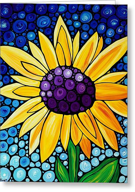 Sunflower Art Greeting Cards - Basking In The Glory Greeting Card by Sharon Cummings