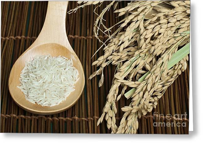Basmati Greeting Cards - Basmati rice in wooden spoon Greeting Card by Deyan Georgiev
