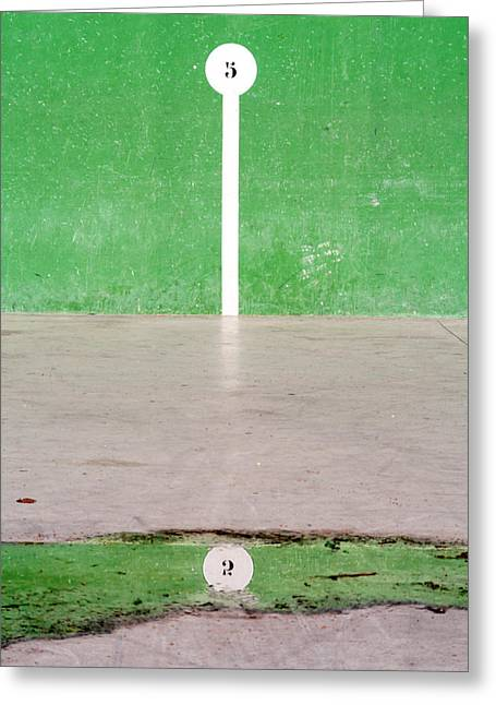 Cement Court Greeting Cards - Basque Pelota Court With Number Reflection On Puddle Greeting Card by Mikel Martinez de Osaba