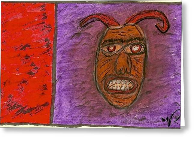 Basquiat Drawings Greeting Cards - Basquiat - Demon 11-004 Greeting Card by Mario Perron