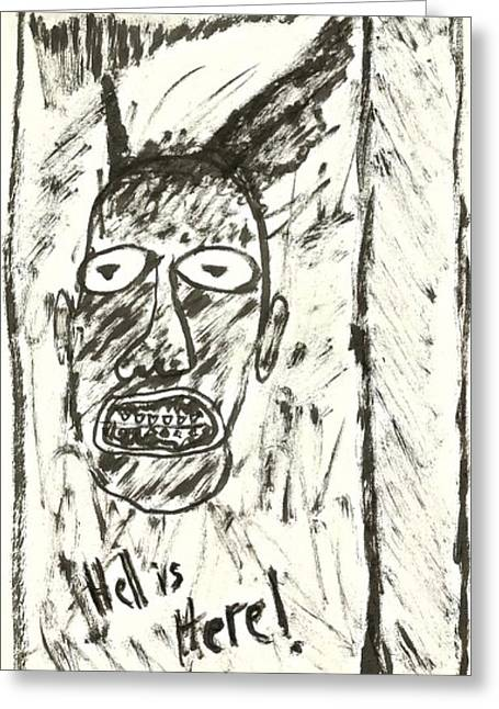 Basquiat Drawings Greeting Cards - Basquiat - Hell Here 11-004 Greeting Card by Mario Perron