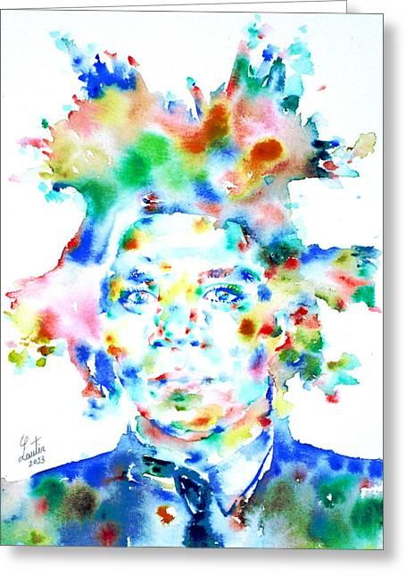 Basquiat Greeting Cards - Basquiat Jean Michel Watercolor Portrait Greeting Card by Fabrizio Cassetta