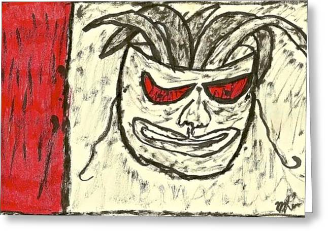 Basquiat Drawings Greeting Cards - Basquiat - Mask 11-002 Greeting Card by Mario Perron