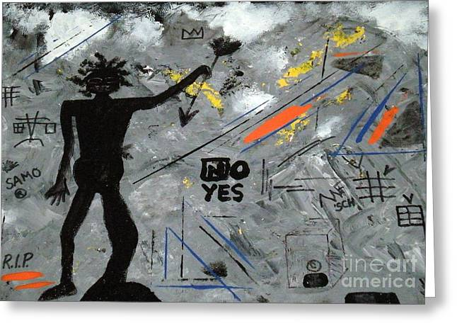 Primitive Mixed Media Greeting Cards - Basquiat Rest in Peace - Tribute Number 7 Greeting Card by Scott Haley