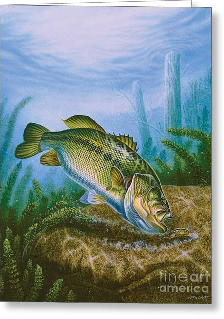 Bass And Crawdad Greeting Card by Jon Q Wright